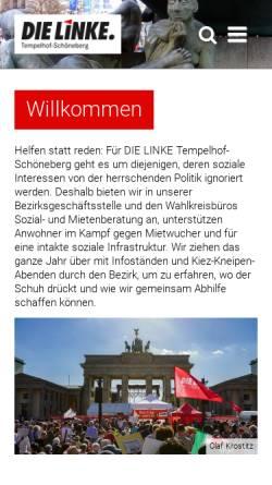 Vorschau der mobilen Webseite www.dielinke-tempelhof-schoeneberg.de, Die Linke. Tempelhof-Schöneberg