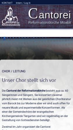 Vorschau der mobilen Webseite www.cantorei.de, Cantorei der Reformationskirche Berlin-Moabit
