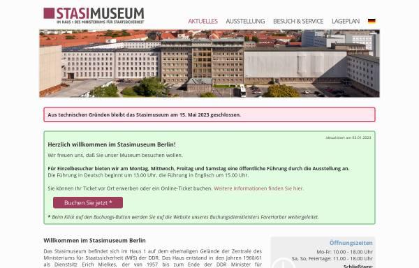 Vorschau von www.stasimuseum.de, Forschungs- und Gedenkstätte Normannenstraße