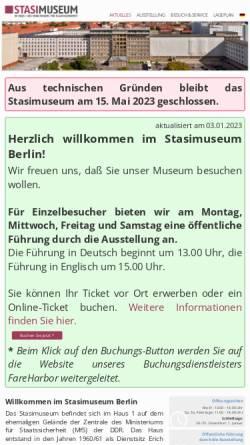 Vorschau der mobilen Webseite www.stasimuseum.de, Forschungs- und Gedenkstätte Normannenstraße