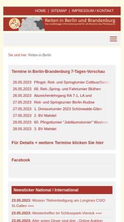 Vorschau der mobilen Webseite www.reiten-in-berlin.de, Reiten in Berlin und Brandenburg