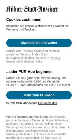 Vorschau der mobilen Webseite www.ksta.de, Kölner Stadtanzeiger (KSTA)