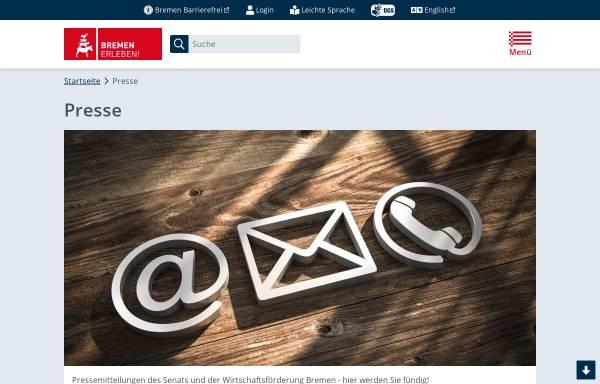 Vorschau von www.bremen.de, Presseseiten der Freien Hansestadt Bremen