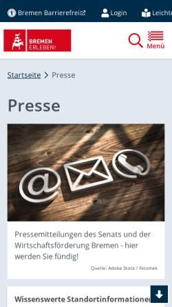 Vorschau der mobilen Webseite www.bremen.de, Presseseiten der Freien Hansestadt Bremen