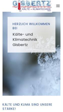 Vorschau der mobilen Webseite www.kaelte-gisbertz.de, Gisbertz - Kälte und Klimatechnik GmbH