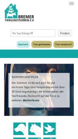 Vorschau der mobilen Webseite www.tierheim-bremen.de, Bremer Tierheim