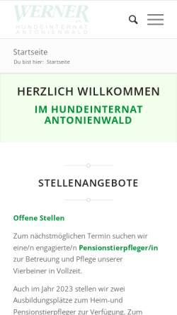 Vorschau der mobilen Webseite www.hunde-internat.de, Hundeinternat Antonienwald.