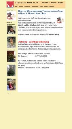 Vorschau der mobilen Webseite www.tiere-in-not-ev.de, Tiere in Not e.V.
