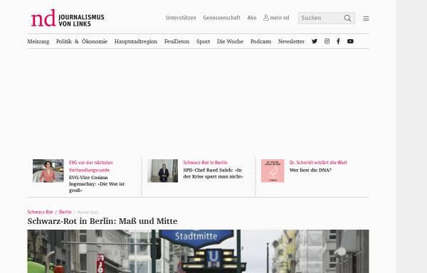 Vorschau von www.neues-deutschland.de, Verlag Neues Deutschland Druckerei und Verlag GmbH