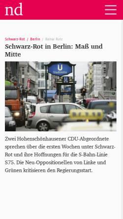 Vorschau der mobilen Webseite www.neues-deutschland.de, Verlag Neues Deutschland Druckerei und Verlag GmbH