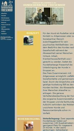 Vorschau der mobilen Webseite www.hundeherberge-friesenhof.de, Hundeherberge Friesenhof