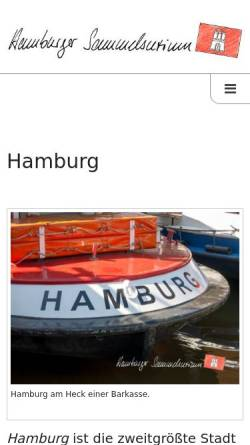 Vorschau der mobilen Webseite www.hamburger-sammelsurium.de, Hamburger Sammelsurium