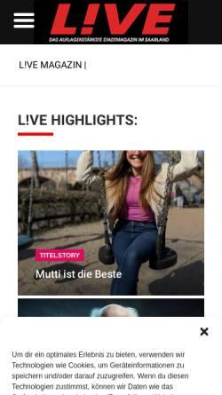 Vorschau der mobilen Webseite www.live-magazin.de, Live Magazin Saar