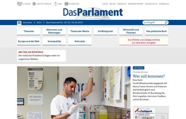 Vorschau von www.das-parlament.de, Das Parlament
