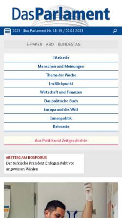 Vorschau der mobilen Webseite www.das-parlament.de, Das Parlament