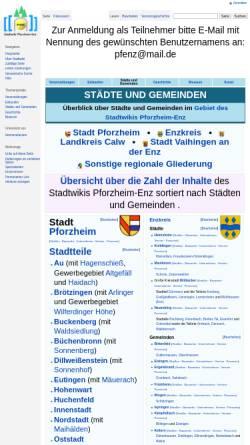 Vorschau der mobilen Webseite www.pfenz.de, Portal Städte und Gemeinden