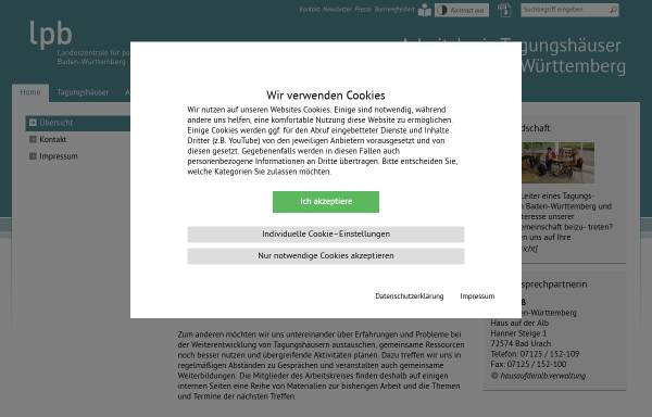 Vorschau von www.tagungshaeuser-bw.de, Arbeitskreis Tagungshäuser in Baden-Württemberg