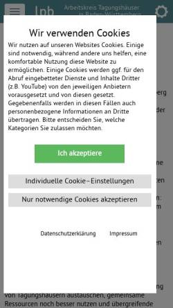 Vorschau der mobilen Webseite www.tagungshaeuser-bw.de, Arbeitskreis Tagungshäuser in Baden-Württemberg