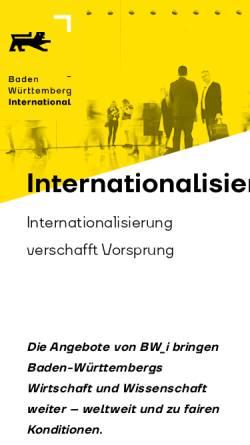 Vorschau der mobilen Webseite www.bw-i.de, Baden-Württemberg International