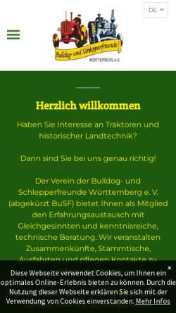 Vorschau der mobilen Webseite www.busf.de, Bulldog- und Schlepperfreunde Württemberg e. V.