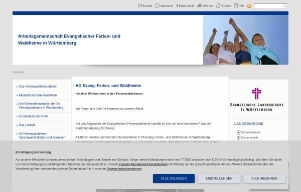 Vorschau von www.ferienwaldheime.de, Evangelische Ferien- und Waldheime in Württemberg