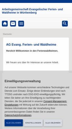 Vorschau der mobilen Webseite www.ferienwaldheime.de, Evangelische Ferien- und Waldheime in Württemberg