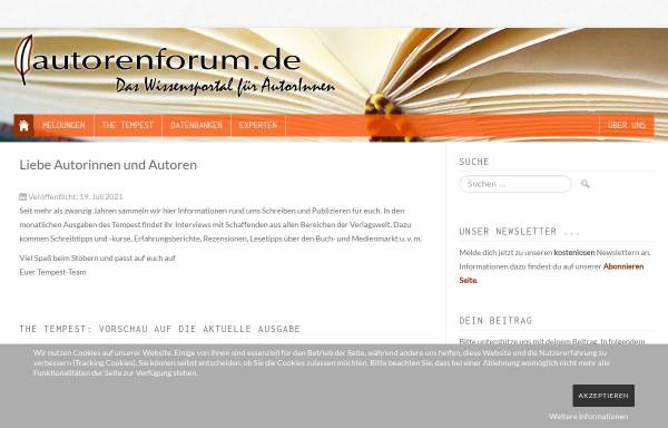 Vorschau von www.autorenforum.de, Das Autorenforum: Infoquelle für AutorInnen