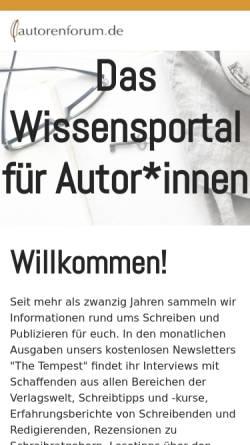 Vorschau der mobilen Webseite www.autorenforum.de, Das Autorenforum: Infoquelle für AutorInnen