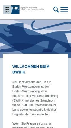 Vorschau der mobilen Webseite www.bw.ihk.de, IHK - Standortinformationssystem Baden-Württemberg
