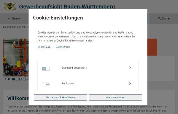 Vorschau von www.gewerbeaufsicht.baden-wuerttemberg.de, Staatliche Gewerbeaufsicht Baden-Württemberg