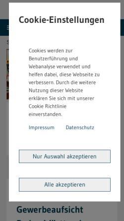 Vorschau der mobilen Webseite www.gewerbeaufsicht.baden-wuerttemberg.de, Staatliche Gewerbeaufsicht Baden-Württemberg