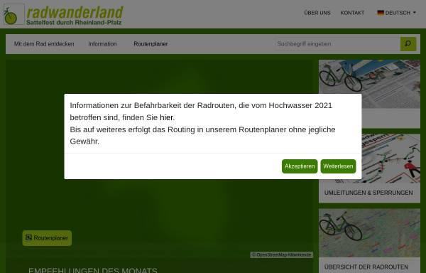 Vorschau von www.radwanderland.de, Portal für Radwanderer in Rheinland-Pfalz