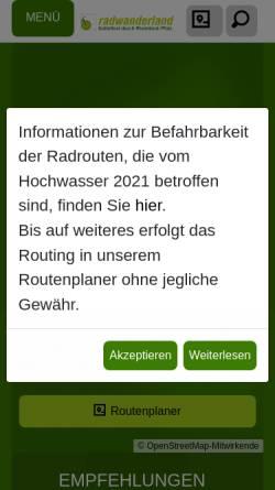 Vorschau der mobilen Webseite www.radwanderland.de, Portal für Radwanderer in Rheinland-Pfalz