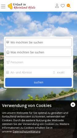 Vorschau der mobilen Webseite www.urlaub-in-rheinland-pfalz.de, Urlaub in Rheinland-Pfalz
