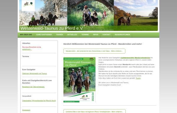 Vorschau von www.westerwaldzupferd.de, Wanderreiten im Taunus und Westerwald