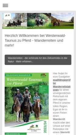 Vorschau der mobilen Webseite www.westerwaldzupferd.de, Wanderreiten im Taunus und Westerwald