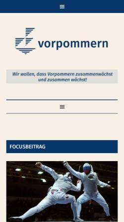 Vorschau der mobilen Webseite www.region-vorpommern.de, Die Region Vorpommern e.V.