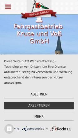Vorschau der mobilen Webseite boddenschifffahrt.de, Fahrgastbetrieb Kruse und Voß GmbH