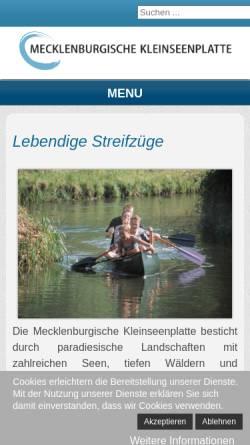 Vorschau der mobilen Webseite www.klein-seenplatte.de, Mecklenburgische Kleinseenplatte Touristik GmbH