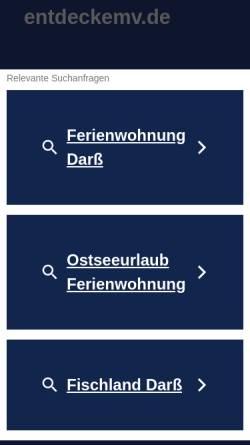 Vorschau der mobilen Webseite www.entdeckemv.de, Ostseeferien auf Fischland-Darss-Zingst oder an den Bodden