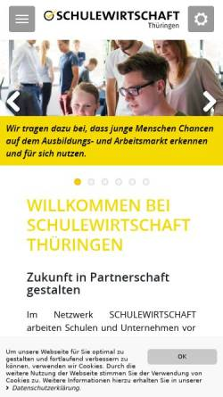 Vorschau der mobilen Webseite www.schule-wirtschaft-thueringen.de, Landesarbeitsgemeinschaft Schule-Wirtschaft-Thüringen