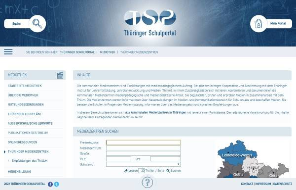 Vorschau von www.schulportal-thueringen.de, Medienzentren in Thüringen