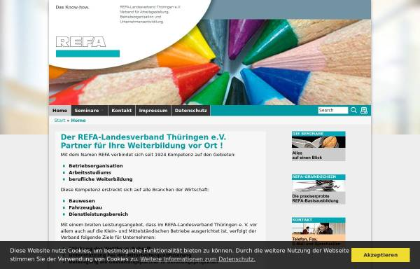 Vorschau von www.refa-thueringen.de, REFA-Landesverband Thüringen e.V.
