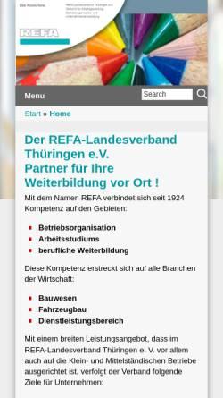 Vorschau der mobilen Webseite www.refa-thueringen.de, REFA-Landesverband Thüringen e.V.