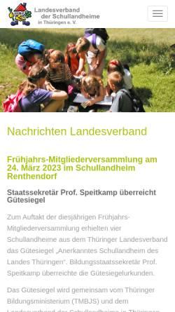 Vorschau der mobilen Webseite www.schullandheim-thueringen.de, Schullandheime in Thüringen