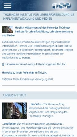 Vorschau der mobilen Webseite www.thillm.de, Thüringer Institut für Lehrerfortbildung, Lehrplanentwicklung und Medien