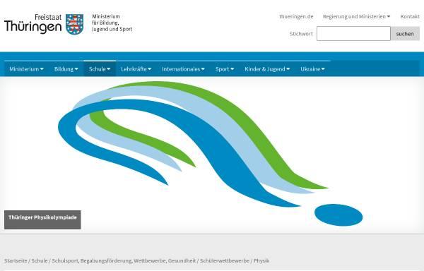 Vorschau von www.thueringerphysikolympiade.de, Thüringer Physikolympiade