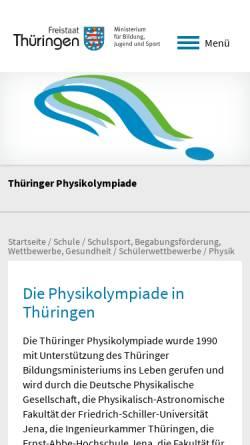 Vorschau der mobilen Webseite www.thueringerphysikolympiade.de, Thüringer Physikolympiade