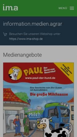 Vorschau der mobilen Webseite www.ima-agrar.de, Information, Medien, Agrar e.V.