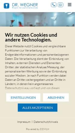 Vorschau der mobilen Webseite www.praxis-wegner.de, Zahnärzte Dres. Stefan & Pia Wegner